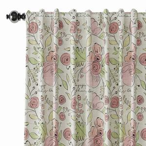 Floral Print Polyester Linen Curtain Drapery PIRATE
