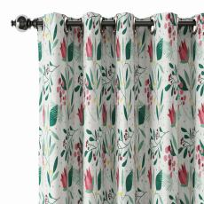 Floral Print Polyester Linen Curtain Drapery ANCHOR