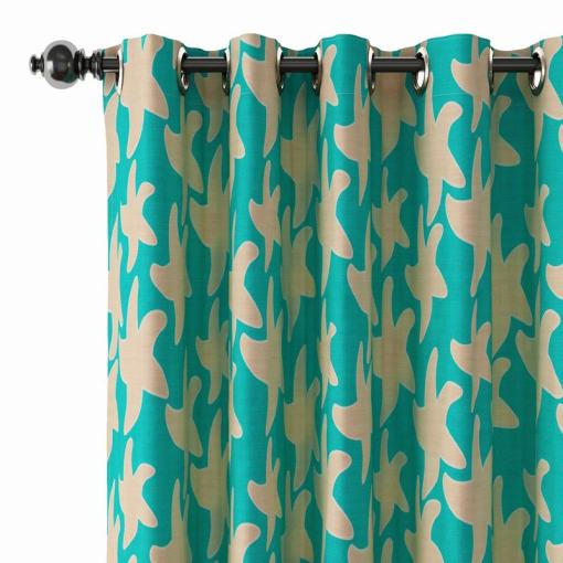Abstract Print Polyester Linen Curtain Drapery JUEYE