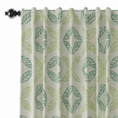 Nature Print Polyester Linen Curtain Drapery TUSCANY