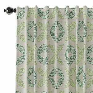 Nature Print Polyester Linen Curtain Drapery TUSCANY