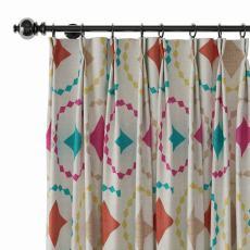 Geometric Print Polyester Linen Curtain Drapery FLAMINGO