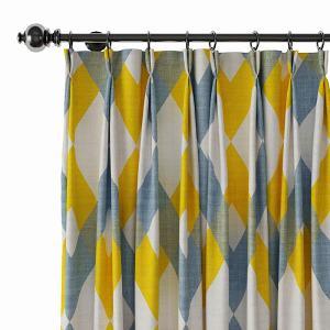 Geometric Print Polyester Linen Curtain Drapery FOX