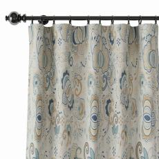 Paisleys Print Polyester Linen Curtain Drapery PALM