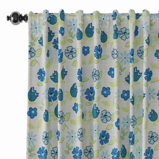 Floral Print Polyester Linen Curtain Drapery CACTUS