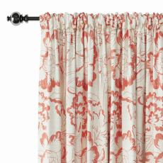 Floral Print Polyester Linen Curtain Drapery ELK