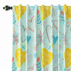 Kids Print Polyester Linen Curtain Drapery FINN