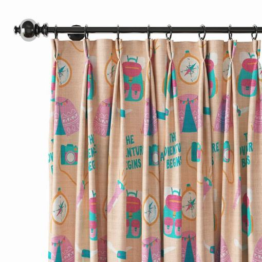 Kids Print Polyester Linen Curtain Drapery SILAS