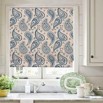 AMBER Paisley Print Polyester Linen Roman Shade