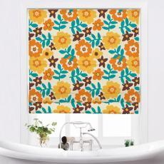 BECKY Floral Print Polyester Linen Roman Shade