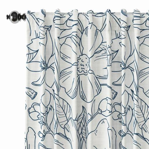 Floral Print Polyester Linen Curtain Drapery JACK