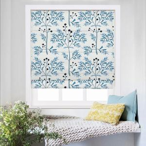 CASSANDRA Floral Print Polyester Linen Roman Shade