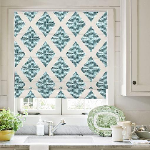 COLIN Geometric Print Polyester Linen Roman Shade