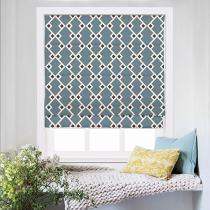 COLE Geometric Print Polyester Linen Roman Shade