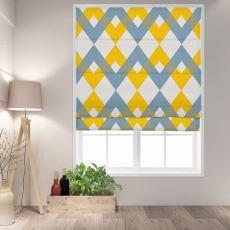 FOX Geometric Print Polyester Linen Roman Shade