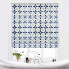 CAMELLIA Geometric Print Polyester Linen Roman Shade