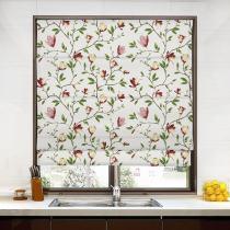 CORA Botanical Flower Print Polyester Cotton Roman Shade