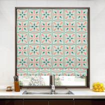 ADELINE Geometric Print Polyester Linen Roman Shade