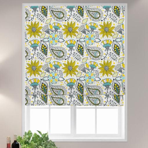 AIMEE Paisley Floral Print Polyester Linen Roman Shade