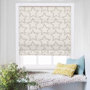 BAOBEI Geometric Print Polyester Linen Roman Shade
