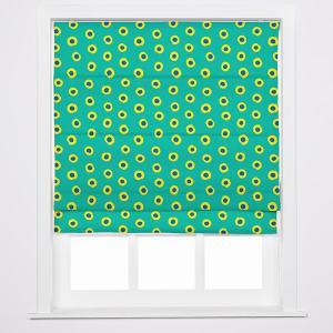 JUNIOR Abstract Print Polyester Linen Roman Shade