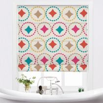 FLAMINGO Geometric Print Polyester Linen Roman Shade