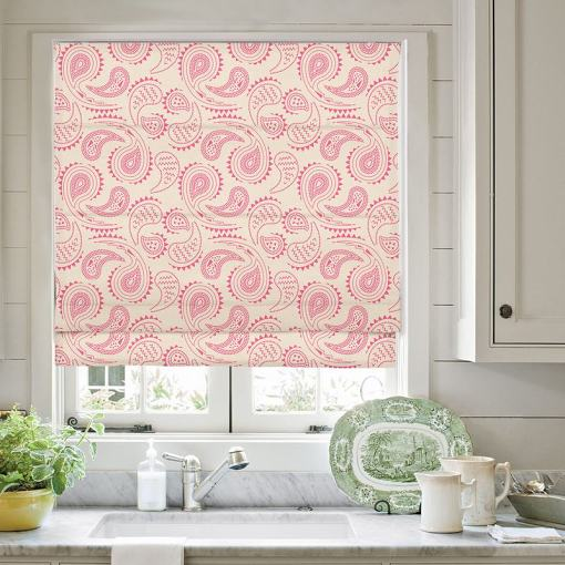 AUDREY Paisley Print Polyester Linen Roman Shade