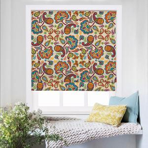 ABBY Paisley Print Polyester Linen Roman Shade
