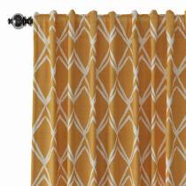 Geometric Print Polyester Linen Curtain Drapery LEO