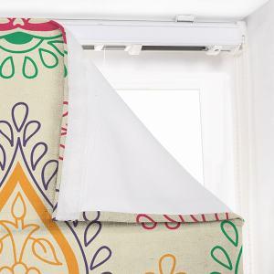 WYATT Abstract Print Polyester Linen Room Darkening Roman Shade