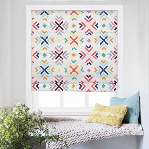 ARAV Geometric Print Polyester Linen Room Darkening Roman Shade