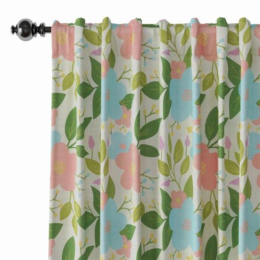 Floral Print Polyester Linen Curtain Drapery ARTHUR