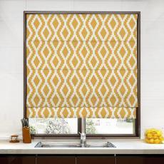JULIAN Geometric Print Polyester Linen Room Darkening Roman Shade