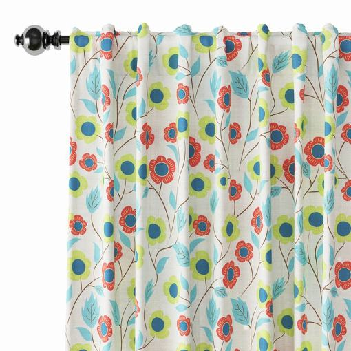 Floral Print Polyester Linen Curtain Drapery ETHAN