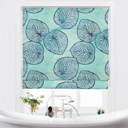 THEODORE Abstract Print Polyester Linen Room Darkening Roman Shade
