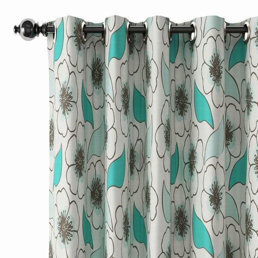Floral Print Polyester Linen Curtain Drapery LEVI