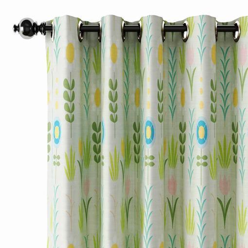 Nature Print Polyester Linen Curtain Drapery SOREN