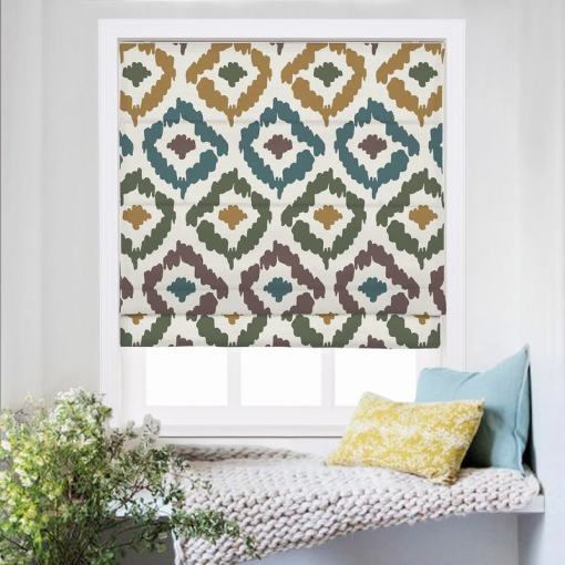 ARYAN Abstract Print Polyester Linen Room Darkening Roman Shade