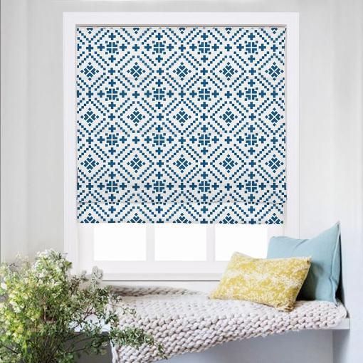 OSCAR Geometric Print Polyester Linen Room Darkening Roman Shade