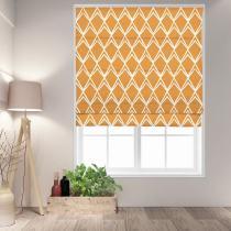 LEO Geometric Print Polyester Linen Room Darkening Roman Shade