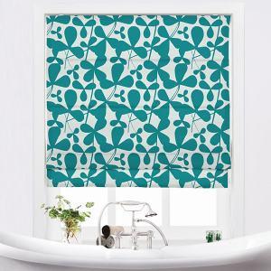 CARLA Abstract Print Polyester Linen Room Darkening Roman Shade