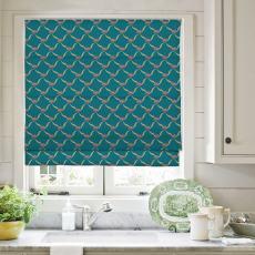 EMILIA Abstract Print Polyester Linen Room Darkening Roman Shade