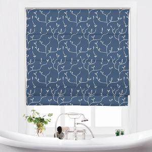CLARA Abstract Print Polyester Linen Room Darkening Roman Shade