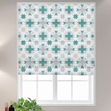 ELIZA Abstract Print Polyester Linen Room Darkening Roman Shade