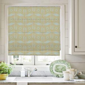 PENELOPE Abstract Print Polyester Linen Room Darkening Roman Shade