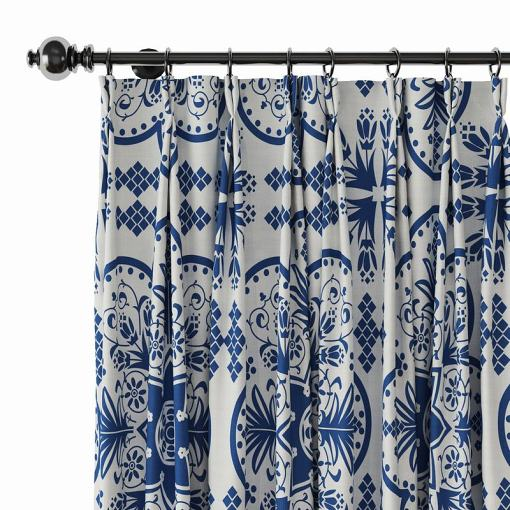 Floral Print Polyester Linen Curtain Drapery ADELAIDE