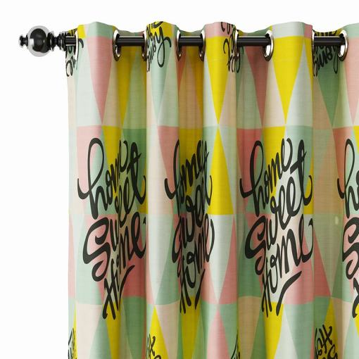 Abstract Print Polyester Linen Curtain Drapery MAISIE
