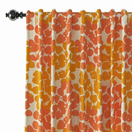 Abstract Print Polyester Linen Curtain Drapery ANNA