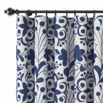 Floral Print Polyester Linen Curtain Drapery AURELIA
