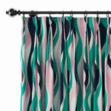 Abstract Print Polyester Linen Curtain Drapery IVY